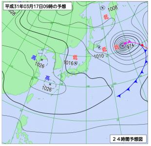 3月17日(日)9時の予想天気図