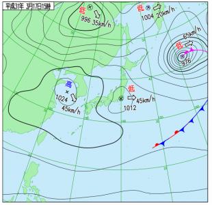 3月17日(日)15時の実況天気図