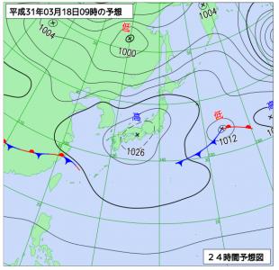 3月18日(月)9時の予想天気図