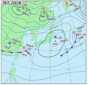 3月18日(月)15時の実況天気図
