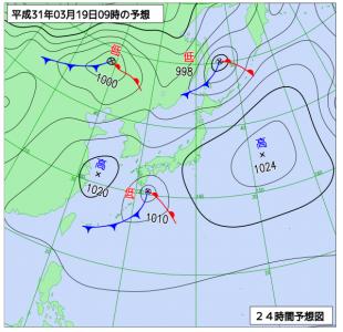 3月19日(火)9時の予想天気図