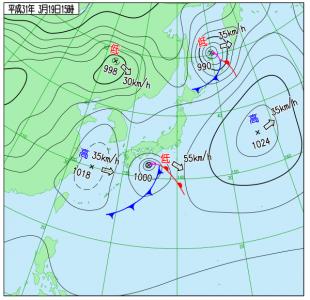 3月19日(火)15時の実況天気図