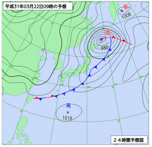 3月22日(金)9時の予想天気図