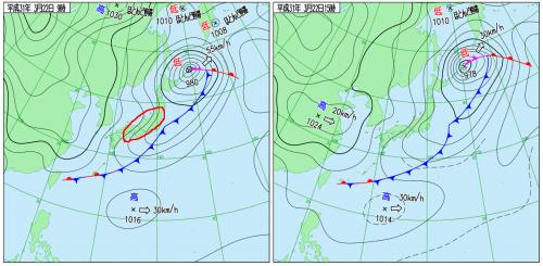 3月22日(金)9時と15時の実況天気図