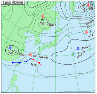 3月25日(月)15時の実況天気図
