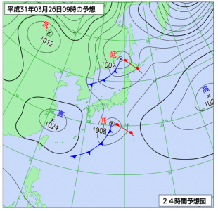 3月26日(火)9時の予想天気図