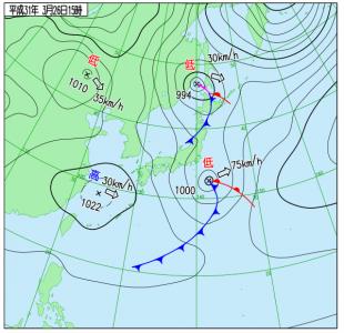 3月26日(火)15時の実況天気図