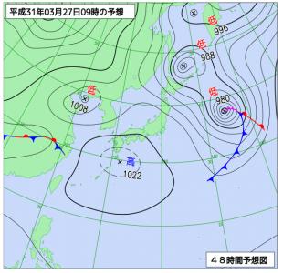 3月27日(水)9時の予想天気図