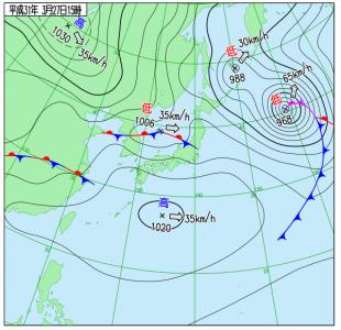 3月27日(水)15時の実況天気図