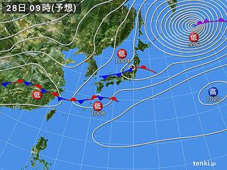 3月28日(木)9時の予想天気図