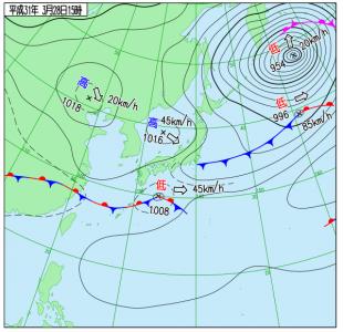 3月28日(木)15時の実況天気図