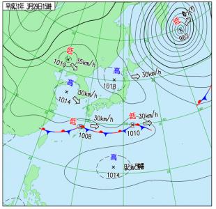 3月29日(金)15時の実況天気図