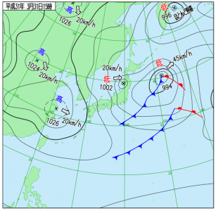 3月31日(日)15時の実況天気図