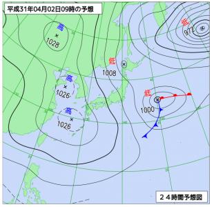4月2日(火)9時の予想天気図