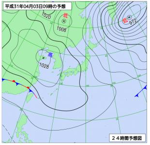 4月3日(水)9時の予想天気図