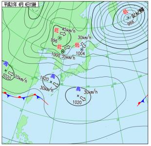 4月4日(木)15時の実況天気図