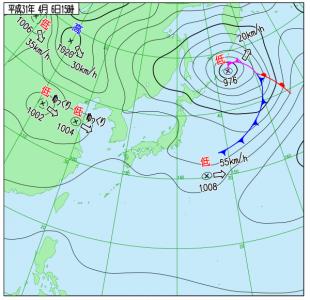 4月6日(土)15時の実況天気図