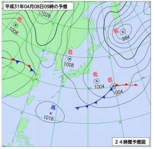 4月8日(月)9時の予想天気図