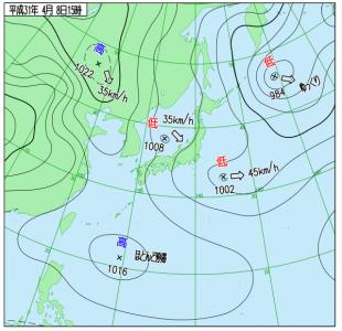 4月8日(月)15時の実況天気図