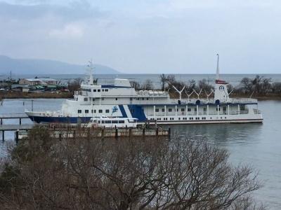 びわ湖大橋米プラザの桟橋に係留されたままになってる旧うみのこ