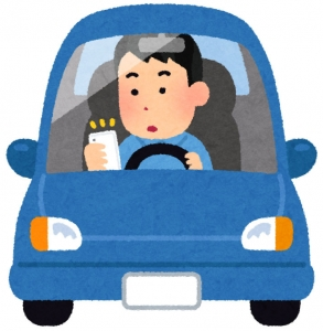 ながら運転中のドライバー(いらすとや)