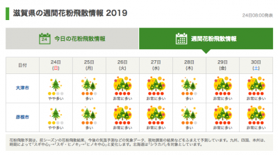 滋賀の週間花粉飛散情報(3月24日8時発表)