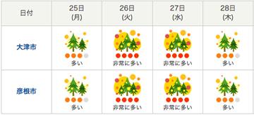 滋賀県の週間花粉飛散情報(3月25日18時発表)