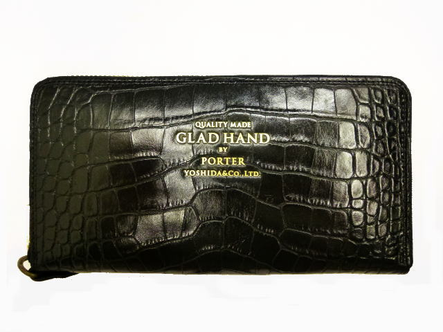 GLAD HAND×POTER GH-BELONGINGS ZIP WALLET CROCOLIKE BLK