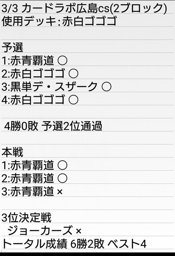広島カードラボCSベスト4 赤白轟轟轟 優季さん 戦績