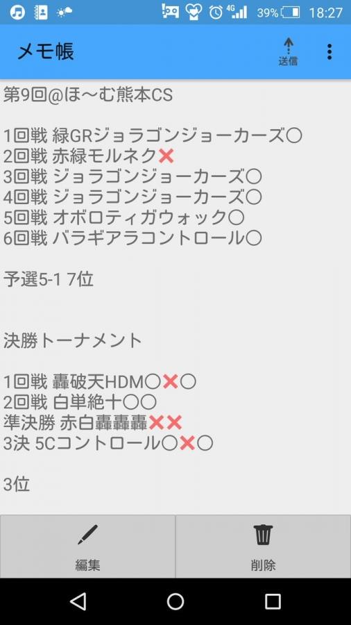 第9回@ほ~む熊本CS3位 メタリカサザン ☆ガンプラ☆さん 戦績