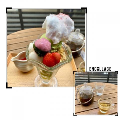 雪どけ桜パフェ&白桃烏龍茶