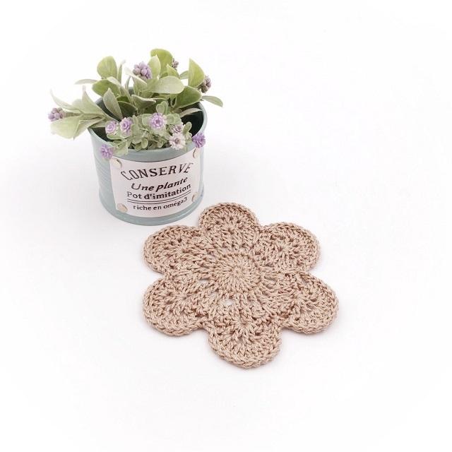 手編み雑貨 HanahanD ドイリー 洗える 花 コースター