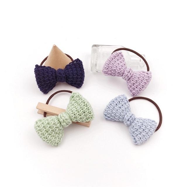 手編み雑貨 HanahanD パステル リボン コットン 手編み ヘアゴム