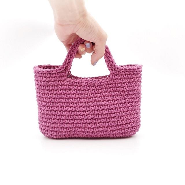 手編み雑貨 HanahanD コットン 手編み バッグ ハンドバッグ 散歩