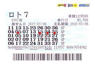 ロト7 第307回赤