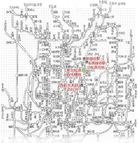 久喜以南の路線図(松原団地、新越谷、大師前)