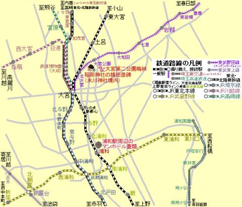 東北本線大宮駅周辺の路線図201702