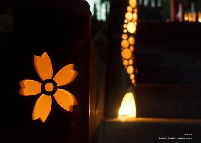 《いわき市桜情報2019》夜桜見物に出かけませんか♪ 小川諏訪神社「しだれ桜ライトアップ」開催中です! [平成31年4月5日(金)更新]7