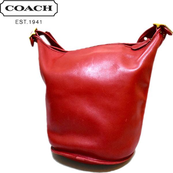 野崎萌香オールドコーチ赤レザーショルダーバッグ革鞄カバン画像@古着屋カチカチ