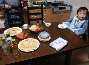 餃子晩ご飯