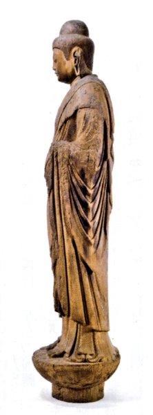 浮嶽神社・如来形立像(左袖のV字状衣文)