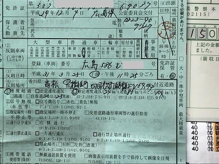 3252019 香川県警 反則切符 S