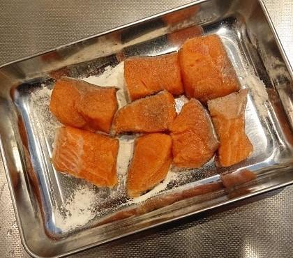 鮭と小松菜の台湾風炒め1