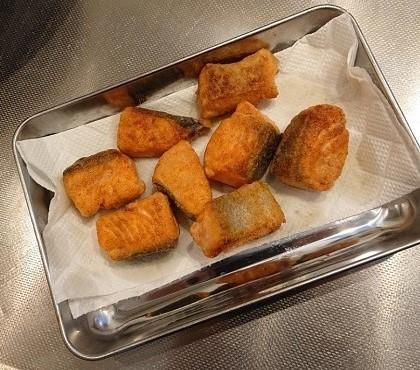 鮭と小松菜の台湾風炒め4
