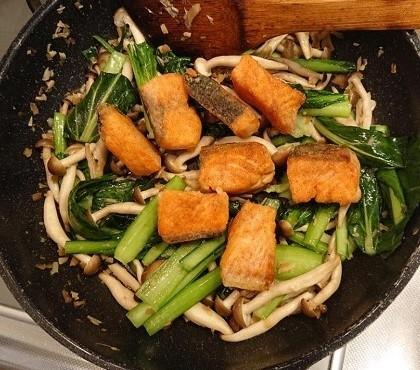 鮭と小松菜の台湾風炒め7