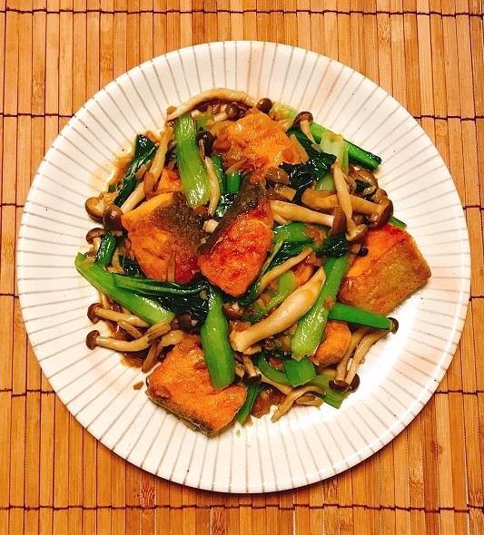 鮭と小松菜の台湾風炒め9