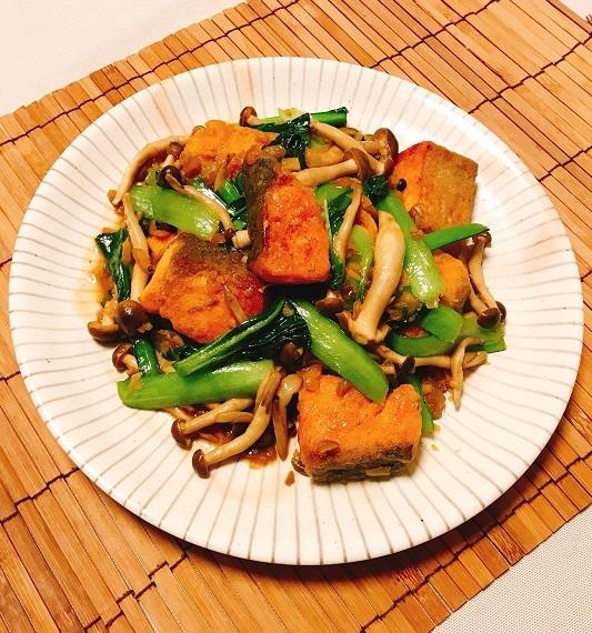 鮭と小松菜の台湾風炒め10