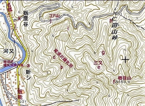 ☆地図 楢抜山  地理院