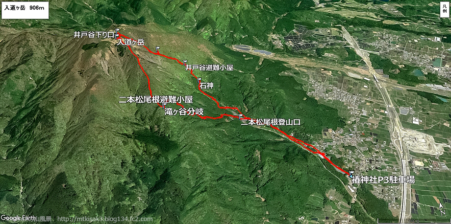 20190309入道ヶ岳ルートマップ