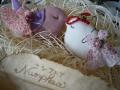 ナンフェア タティングレースのミニドレスのブローチと小鳥